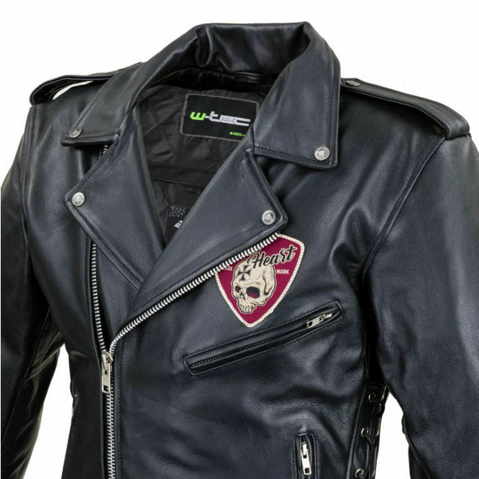moška jakna (double rider) BLACK HEART - PERFECT - ČRNA - 029-0015-BLK - POŠKODOVANO