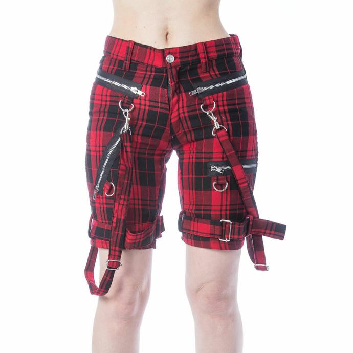 Ženske kratke hlače CHEMICAL BLACK - RENITA - RED TARTAN