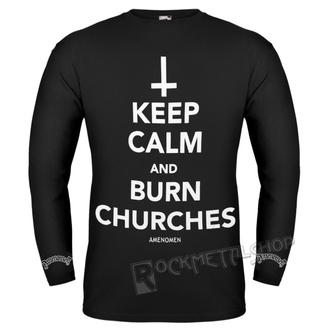 majica hardcore moški - KEEP CALM AND BURN CHURCHES - AMENOMEN - OMEN069LO