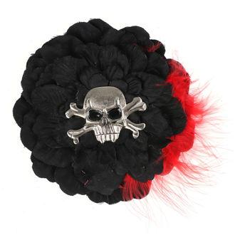 Lasna sponka Skull - Črna/ Rdeče Perje