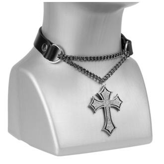 Ovratnica/ choker Cross, Leather & Steel Fashion