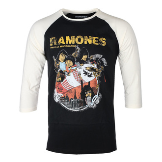 Moška majica s 3/4 rokavi RAMONES - ROCKET CARTOON - ČRNA / ECRU RAGLAN - GOT TO HAVE IT, GOT TO HAVE IT, Ramones