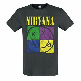 moška majica NIRVANA - FOUR SQUARE SMILEY - OGLJIK - AMPLIFIED, AMPLIFIED, Nirvana