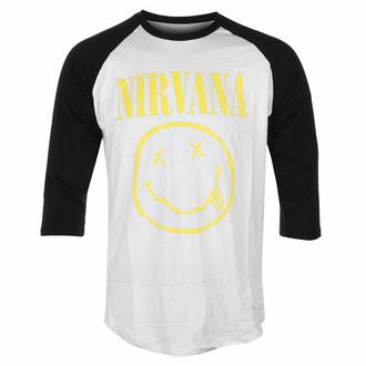 Moška majica s 3/4 rokavi Nirvana - Yellow Smiley - Wht/BL Raglan - ROCK OFF, ROCK OFF, Nirvana