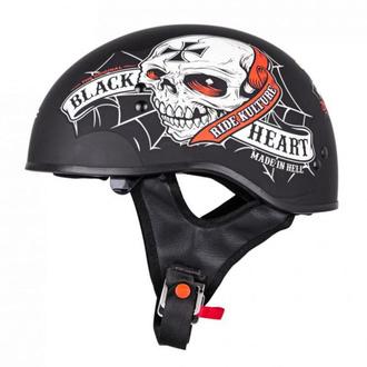 Moto čelada W-TEC V535 BLACK HEART - CRUSTY DEMONS - ČRNA, BLACK HEART
