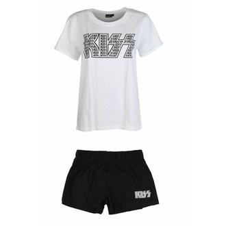 Ženska pižama set Kiss - Logo Infill Lady WHT/BL - ROCK OFF, ROCK OFF, Kiss