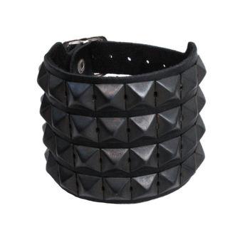 zapestnica koža Piramide 4, BLACK & METAL