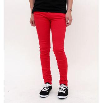 hlače ženske HELL BUNNY - Super Skinny - rdeča, HELL BUNNY