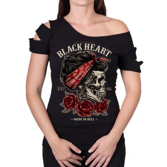 Ženska ulična majica - PIN UP SKULL DESTROY - BLACK HEART, BLACK HEART
