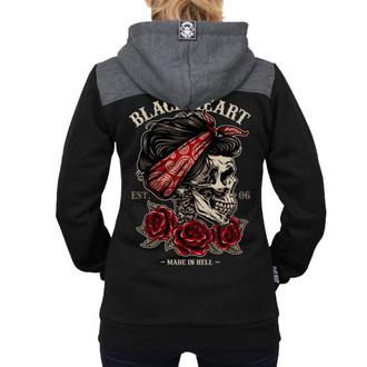 Ženska jopa s kapuco - PIN UP SKULL RG - BLACK HEART, BLACK HEART