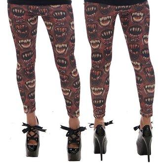 hlače ženske (gleženj) KREEPSVILLE SIX SIX SIX - Monster Mouth - rdeča, KREEPSVILLE SIX SIX SIX