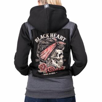 Ženski hoodie BLACK HEART - PIN UP SKULL - SIVA, BLACK HEART