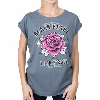 Ženska majica BLACK HEART - ROCK N ROLL ROSE EXT - MODRA, BLACK HEART