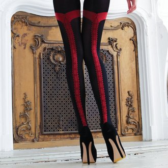 nogavice LEGWEAR - charley opaque - črna z rdeča šiv, LEGWEAR
