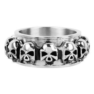 prstan INOX - skulls around, INOX