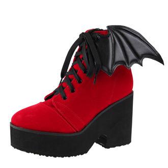 klin čevlji ženske - Bat Wing Boot Red Velvet - IRON FIST, IRON FIST