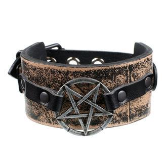 Zapestnica Pentagram - rjava, JM LEATHER