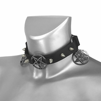 Ovratnica Trojna Triple Pentagram Classic Boot Strap, Leather & Steel Fashion