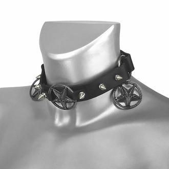 Ovratnica Trojna Baphomet Cult Boot Strap, Leather & Steel Fashion
