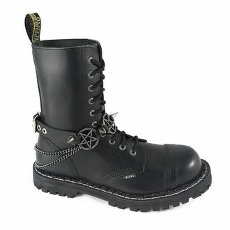 Ovratnica (ali opasnica za škorenj) Triple Chain Pentagram Boot Strap, Leather & Steel Fashion