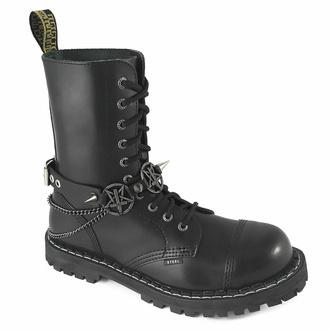 Ovratnica (ali opasnica za škorenj) Triple Chain Inverted Cross Boot Strap, Leather & Steel Fashion
