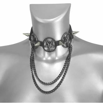 Ovratnica (ali opasnica za škorenj) Triple Chain Baphomet Boot Strap, Leather & Steel Fashion
