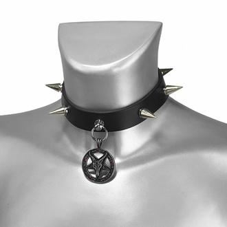 Ovratnica BAPHOMET RED CRYSTAL SPIKE LEATHER CHOKER, Leather & Steel Fashion