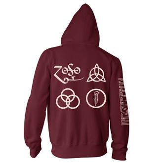 Moški hoodie Led Zeppelin - Symbols Maroon, NNM, Led Zeppelin