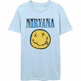 Moška majica Nirvana - Xerox Smiley - MODRA - ROCK OFF, ROCK OFF, Nirvana