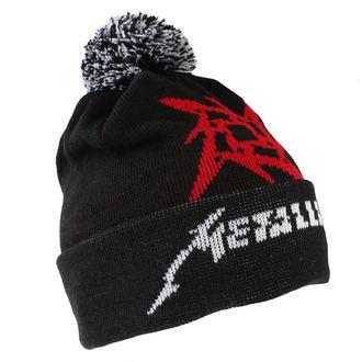 Beanie Metallica - Glitch Star Logo - Črno Tkani Bobble, Metallica