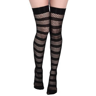 Visoke nogavice KILLSTAR - SHENA FISHNET - BLACK, KILLSTAR