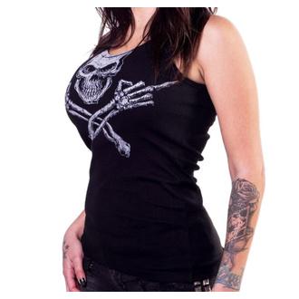Ženski Top LETHAL THREAT - ANGEL MIDDLE FINGER SKULL - BLACK, LETHAL THREAT