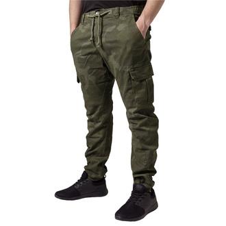 Moške hlače URBAN CLASSICS - Camo Cargo Jogging - olivna camo, URBAN CLASSICS