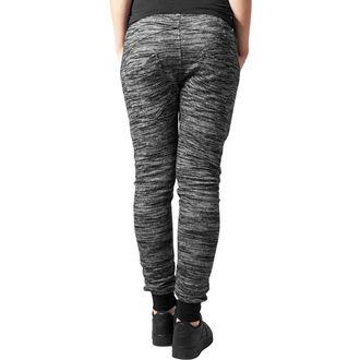 Ženske hlače URBAN CLASSICS - Fitted Melange - črna / siva, URBAN CLASSICS