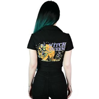 Ženska majica KILLSTAR - Witch Queen Crop Bowling - Črna, KILLSTAR