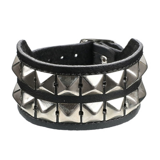 Zapestnica Piramide 2 - vegan, BLACK & METAL