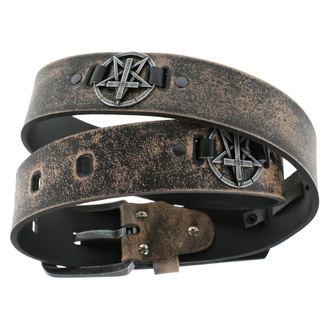 Pas Pentagram Cross - rjava, Leather & Steel Fashion