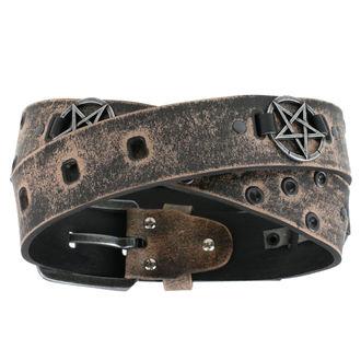 Pas Pentagram - rjava, Leather & Steel Fashion