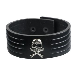 Zapestnica Skull, Leather & Steel Fashion