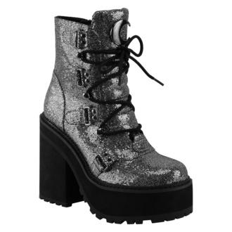 Ženski škornji KILLSTAR - Broom Rider Boots - SREBRNA GLITTER, KILLSTAR