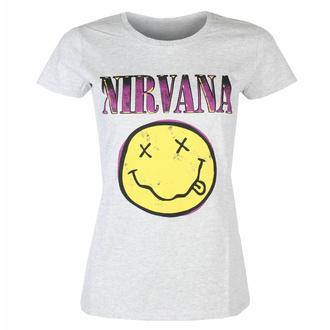 Ženska majica Nirvana - Xerox Smiley Pink HEATHER - ROCK OFF, ROCK OFF, Nirvana