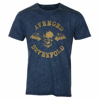Moška majica Avenged Sevenfold - Logo Snow Wash - NAVY - ROCK OFF, ROCK OFF, Avenged Sevenfold