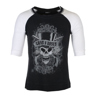 Unisex majica s 3/4 rokavi Guns N' Roses - Faded Skull - BL / WHT Raglan - ROCK OFF, ROCK OFF, Guns N' Roses