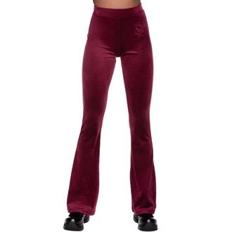 Ženske hlače KILLSTAR - Lounge Lizard Velvet Flares - BURGUNDY, KILLSTAR