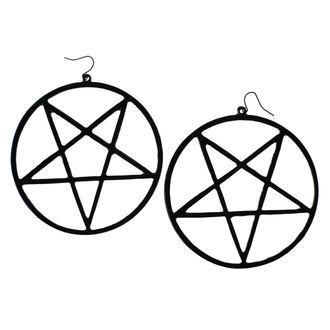 Uhani Luciferothica - velikanski obrnjen pentagram - Črno, LUCIFEROTHICA