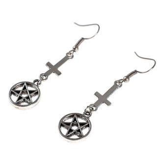 Uhani Luciferothica - obrnjen križ pentagram, LUCIFEROTHICA