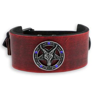 Zapestnica Baphomet - rdeča - modri kristali, Leather & Steel Fashion