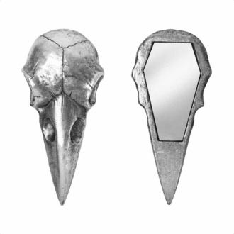 Dekoracija (ogledalo) ALCHEMY GOTHIC - Raven Skull - Srebrna, ALCHEMY GOTHIC