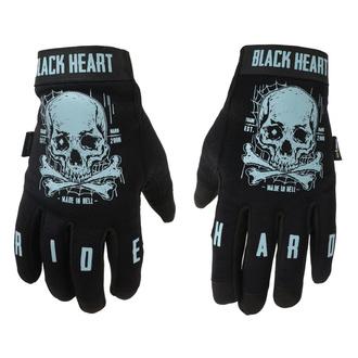 Rokavice BLACK HEART - Moto W-TEC Web Skull - ČRNA, BLACK HEART