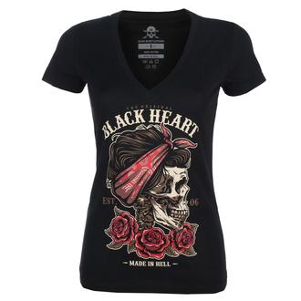 Ženska ulična majica - PIN UP SKULL V - BLACK HEART, BLACK HEART